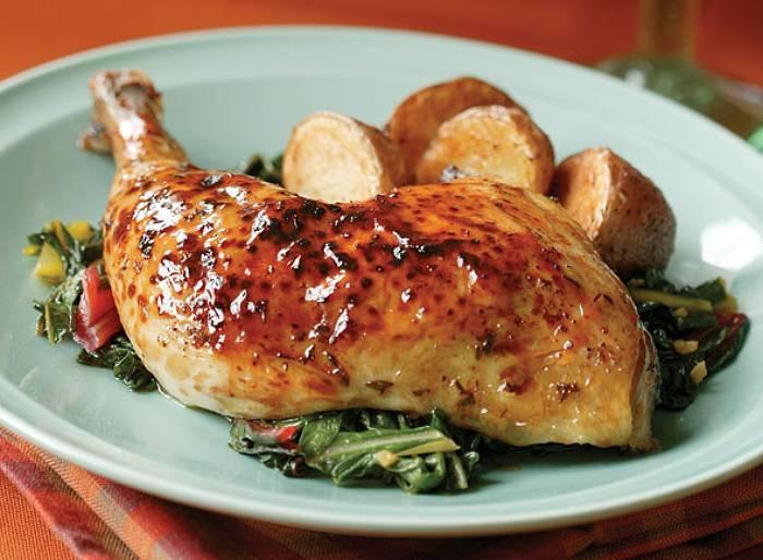 Pieczony kurczak w marynacie klonowo-tymiankowej